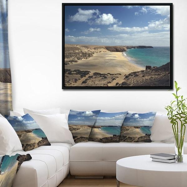 Designart 'Bright Seashore with Blue Waters' Extra Large Seashore Framed Canvas Art