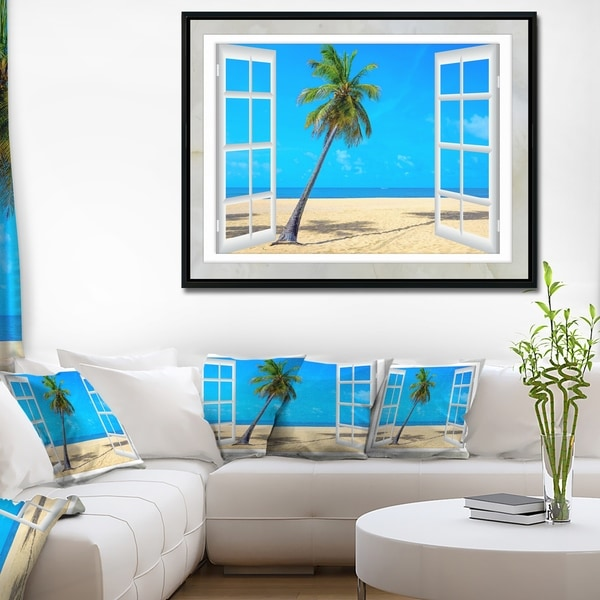 Designart 'Open Window to Beach with Palm' Extra Large Seashore Framed Canvas Art