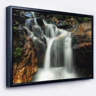 Designart 'Slow Motion Waterfall on Rocks' Landscape Framed Canvas Art Print