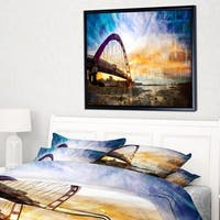 7177822ac0 Designart  Color Red Bridge Sunset Taiwan  Modern Seascape Framed Canvas  Artwork