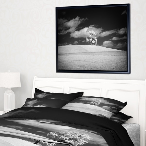 Designart 'Lonely Tree on Meadow Black White' Landscape Artwork Framed Canvas
