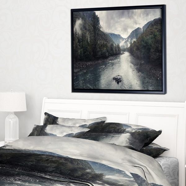 Designart 'Mountain River with Fog and Rain' Modern Seascape Framed Canvas Artwork
