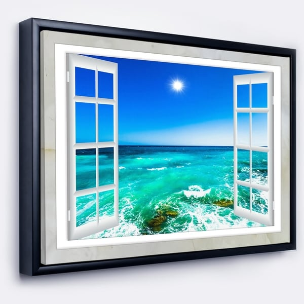 Shop Designart Open Window To Wavy Ocean Extra Large