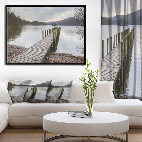 Designart 'Wooden Jetty on Lake District' Wooden Sea Bridge Framed Canvas Wall Art