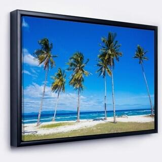 Designart 'Palms on Philippines Tropical Beach' Modern Seascape Framed Canvas Artwork