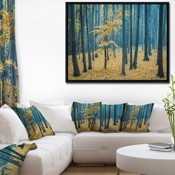 Designart 'Dense Autumn Beach Forest' Oversized Forest Framed Canvas Artwork