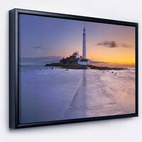 Designart 'Sunrise Over St. Mary s Lighthouse' Modern Seascape Framed Canvas Artwork