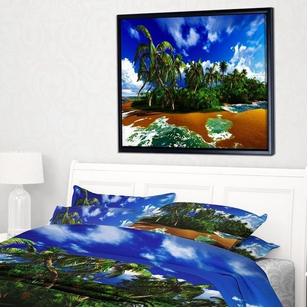 Designart 'Paradise Beach in Hawaii Island' Modern Seascape Framed Canvas Artwork