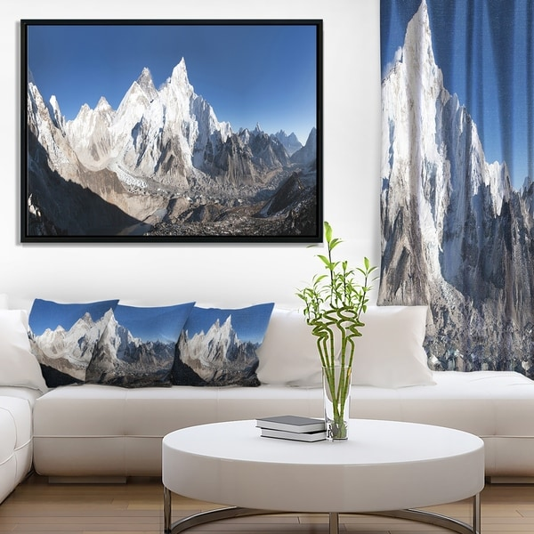 Designart 'Mount Everest Glacier Panorama' Landscape Print Wall Framed Canvas Artwork