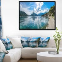 Designart 'Kotor Bay on Summer Day Panorama' Landscape Framed Canvas Art Print
