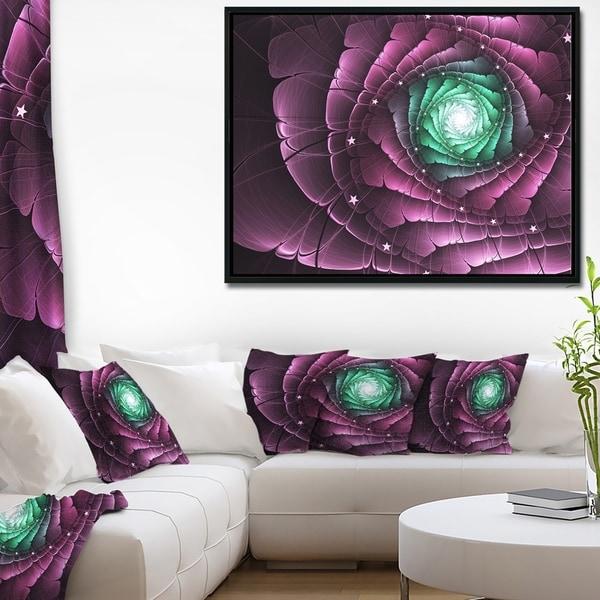 Designart 'Fractal Flower Green Purple Digital Art' Floral Framed Canvas Art Print