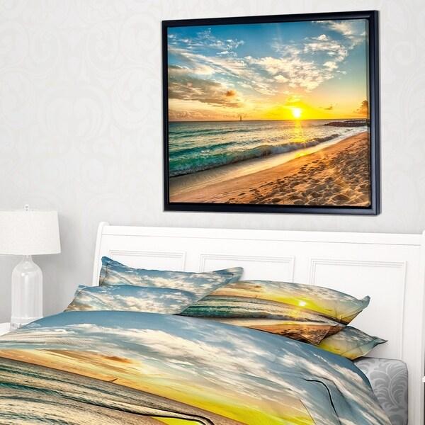 b3d79fcb9c Designart 'White Beach in Island of Barbados' Modern Seascape