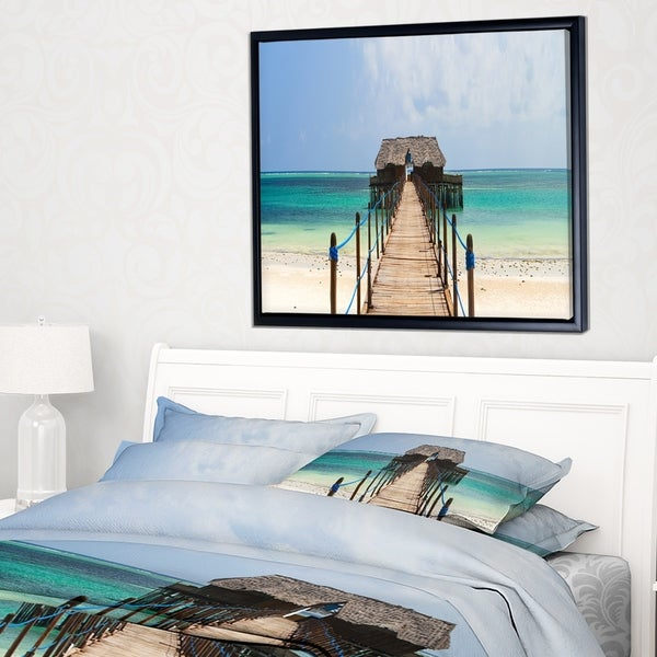 Designart 'Exotic Wood Jetty at Zanzibar Island' Wooden Sea Bridge Framed Canvas Wall Art
