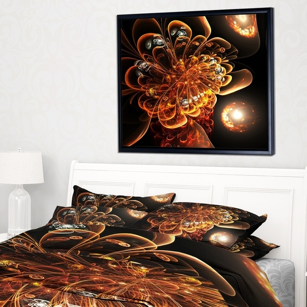 Designart 'Dark Orange Fractal Flower Digital Art' Floral Framed Canvas Art Print