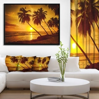 Designart 'Beach Sunset in Island Barbados' Modern Seascape Framed Canvas Artwork