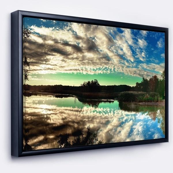 Designart 'Sky Clouds Mirrored in River Panorama' Landscape Framed Canvas Art Print