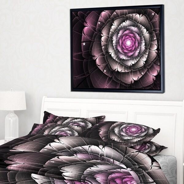 Designart 'Fractal Flower Glossy Pink Digital Art' Floral Framed Canvas Art Print