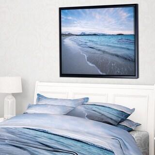 Designart 'Waves Splashing the Calm Seashore' Modern Seascape Framed Canvas Artwork