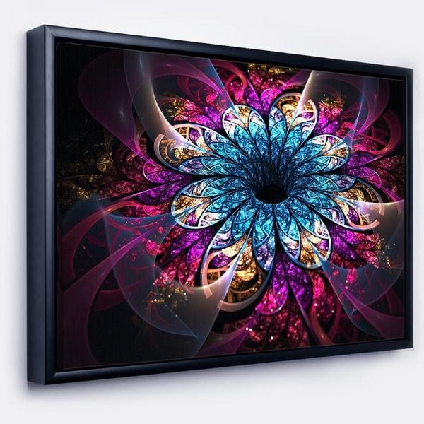 Designart 'Fractal Flower Blue Red Digital Art' Large Flower Framed Canvas Wall Art