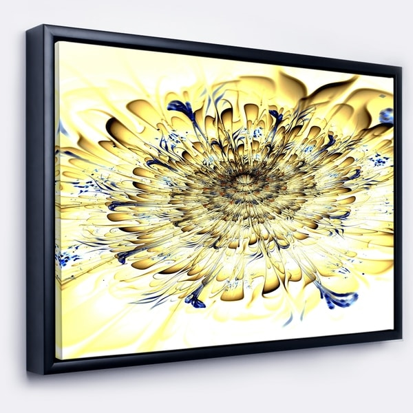 Designart 'Light Yellow Digital Art Fractal Flower' Floral Framed Canvas Art Print