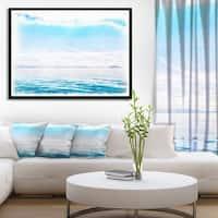 Designart 'Blue Horizon Digital Watercolor' Large Seascape Art Framed Canvas Print