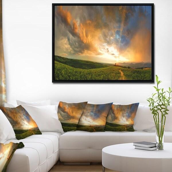 Designart 'Majestic Sunset with Storm Clouds' Landscape Artwork Framed Canvas