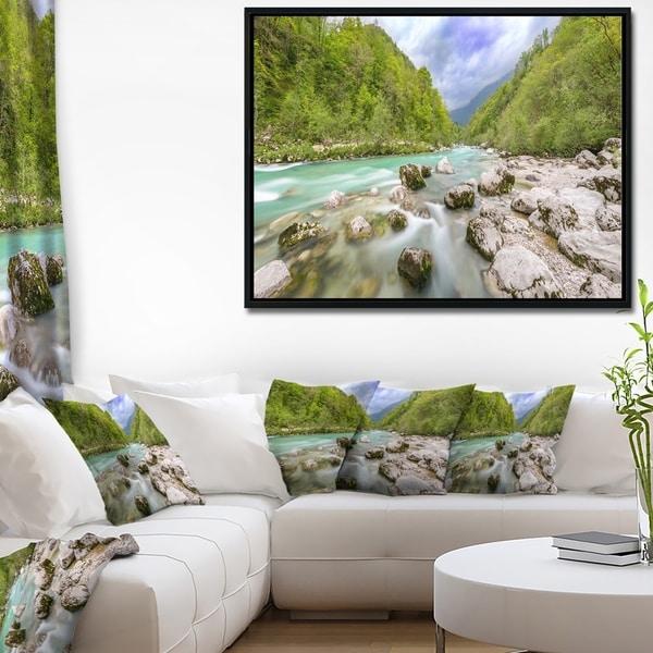 Designart 'Slovenia Waterfall Panorama' Landscape Artwork Framed Canvas