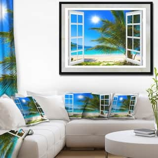 Designart 'Window Open to Beach with Palm' Extra Large Seashore Framed Canvas Art