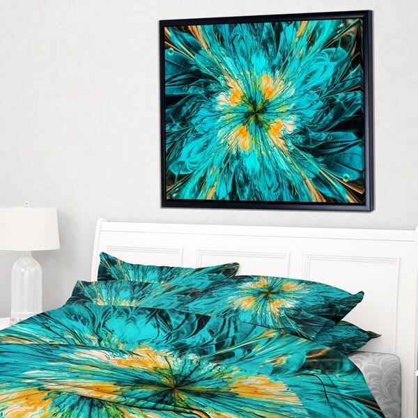 Designart 'Layered Blue Fractal Flower Petals' Floral Framed Canvas Art Print