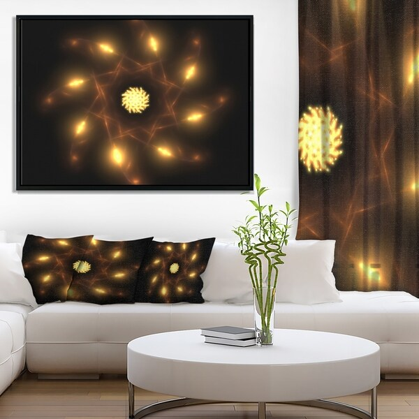 Designart 'Glowing Yellow Radial Fractal Flower Art' Floral Framed Canvas Art Print
