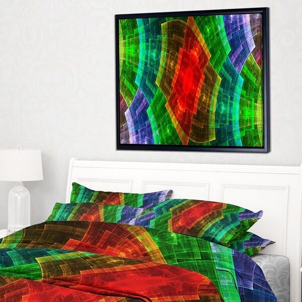 Designart 'Multi Color Psychedelic Fractal Metal Grid' Abstract Art on Framed Canvas