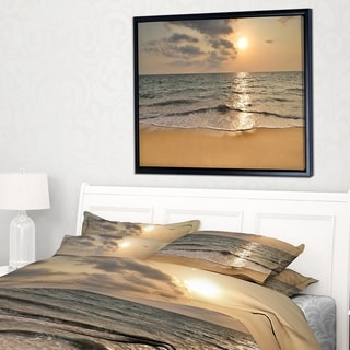 Designart 'Dark Tropical Sand Beach at Sunset' Modern Seascape Framed Canvas Artwork