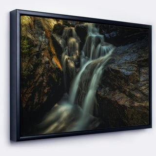 Designart 'Slow Motion Waterfall in Summer' Landscape Framed Canvas Art Print
