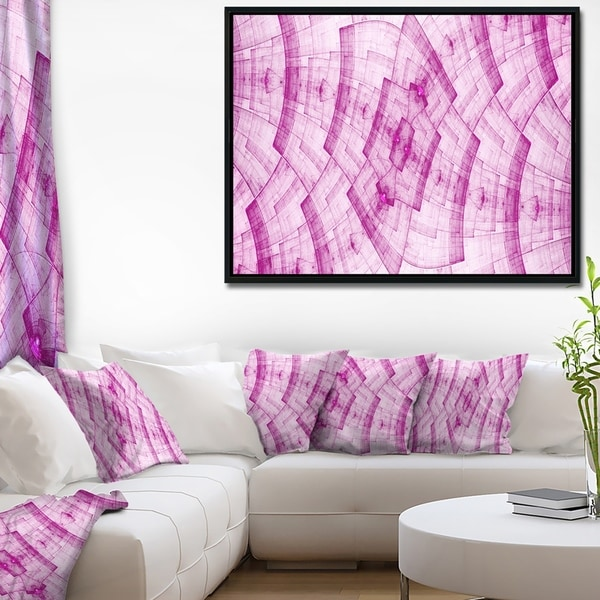 Designart 'Dark Pink Psychedelic Fractal Metal Grid' Abstract Wall Art Framed Canvas