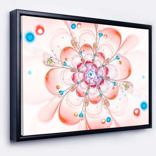 Designart 'Pink Fractal Flower Petals Close up' Floral Framed Canvas Art Print