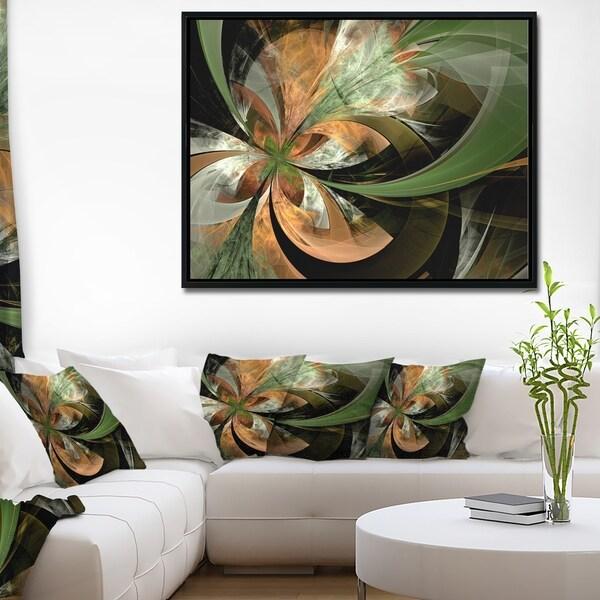 Designart 'Orange and Green Large Fractal Flower' Floral Framed Canvas Art Print