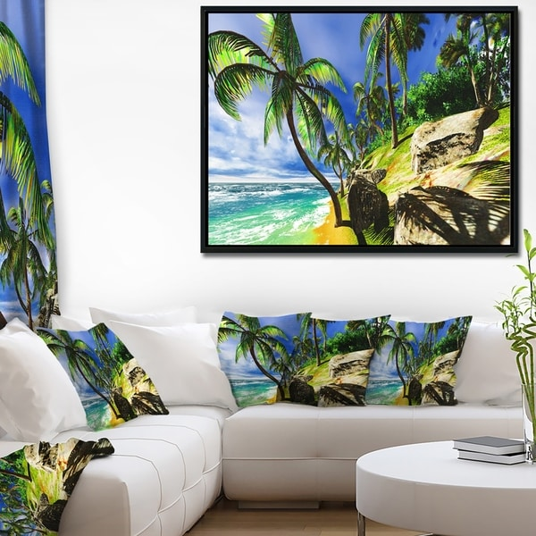 Designart 'Palms in Hawaii Island Beach' Modern Seascape Framed Canvas Artwork