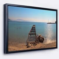 Designart 'Old Pier at Beach Panoramic View' Wooden Sea Bridge Framed Canvas Wall Art