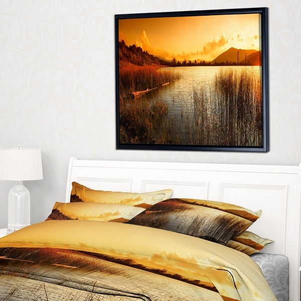 Designart 'Calm Evening with Lake and Mountains' Landscape Artwork Framed Canvas