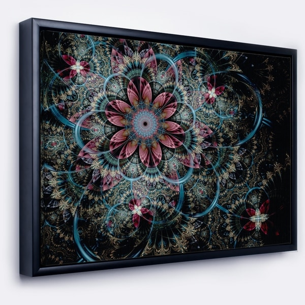 Designart 'Fractal Flower in Dark Blue Digital Art' Floral Framed Canvas Art Print