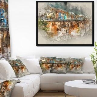 Designart 'Villajoyosa Town Digital Painting' Cityscape Framed Canvas Art Print