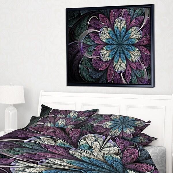 Designart 'Purple Blue Rounded Fractal Flower' Floral Framed Canvas Art Print