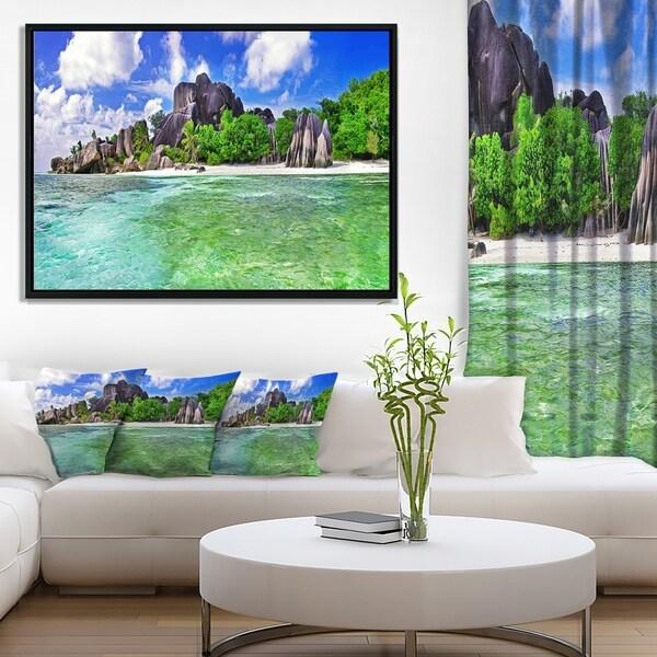 Designart 'Amazing La Diguse Island Seychelles' Landscape Framed Canvas Art Print