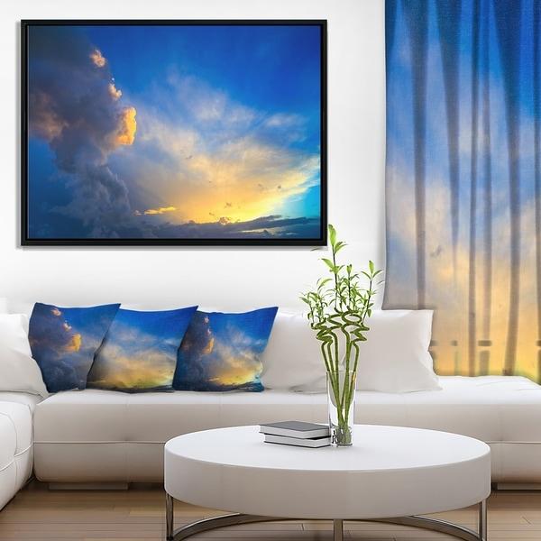 Designart 'Dramatic Sunset Sky with Thunderstorm' Beach Photo Framed Canvas Print