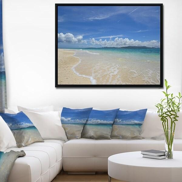 Designart 'Gorgeous Beach in summertime' Modern Seascape Framed Canvas Artwork