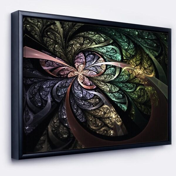 Designart 'Brown Blue Fractal Flower Digital Art' Floral Framed Canvas Art Print