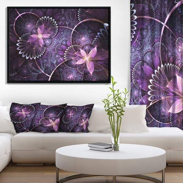 Designart 'Fractal Flower Soft Purple Digital Art' Large Flower Framed Canvas Wall Art
