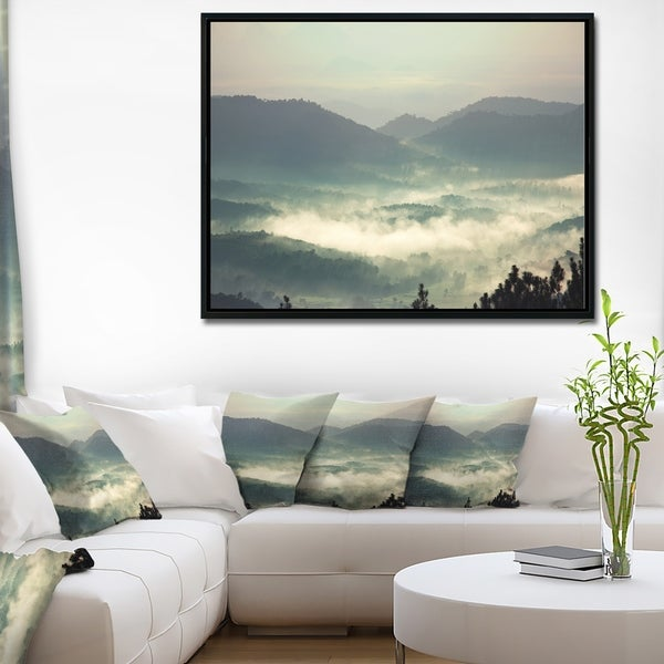 Designart 'Beautiful Foggy Hills in Sri Lanka' Beach Photo Framed Canvas Print