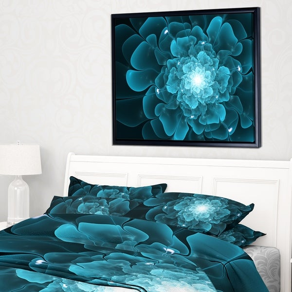 Designart 'Fractal Flower Clear Blue Digital Art' Floral Framed Canvas Art Print