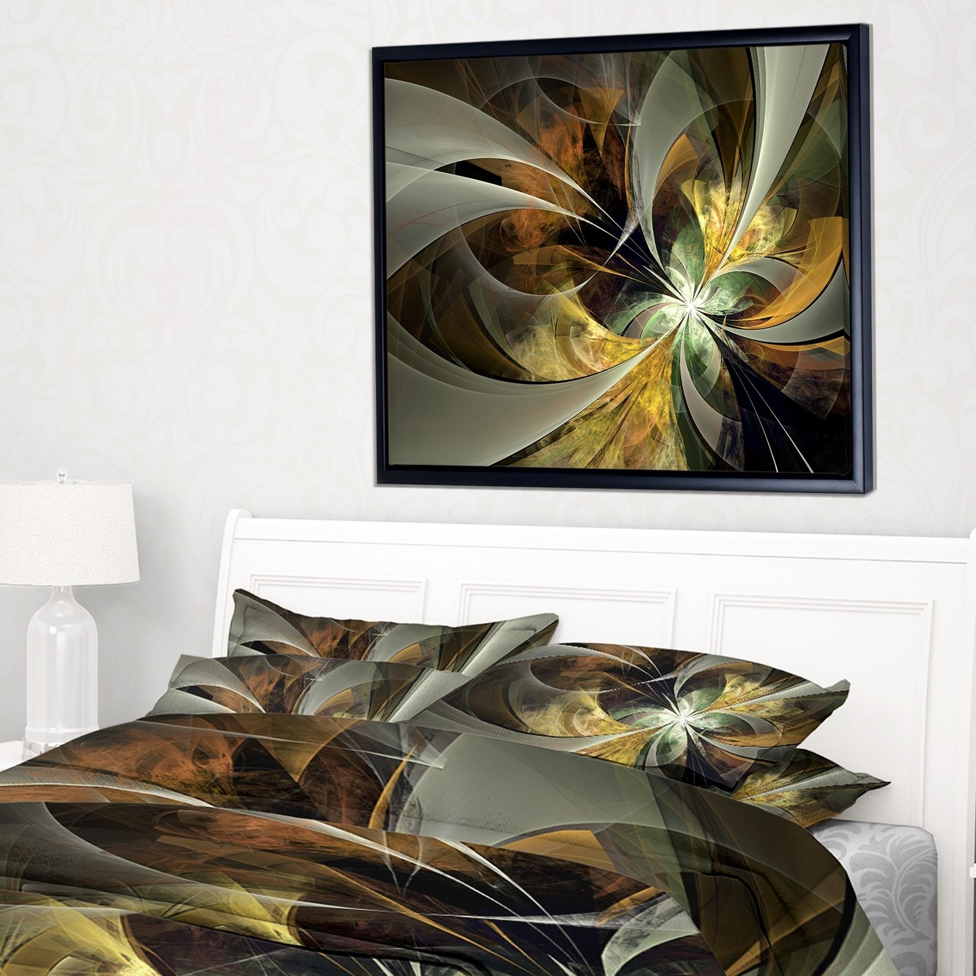 Symmetrical Gold Fractal Flower Floral Canvas Art Print